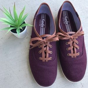 Keds Maroon Sneakers with Leather Trim